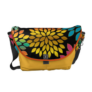 Modern Star Burst Floral Messenger-choose colors Courier Bags