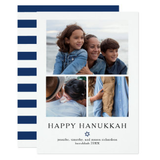 Modern Star | Hanukkah Three Photo Grid Card