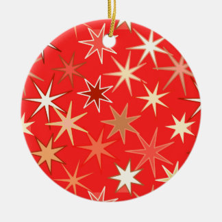 Modern Starburst Print, Deep Mandarin Orange Ceramic Ornament