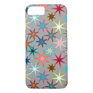Modern Starburst Print, Jewel Colors on Gray iPhone 8/7 Case