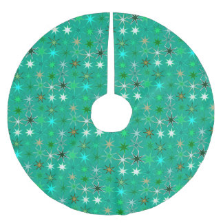 Modern Starburst Print, Turquoise and Aqua Brushed Polyester Tree Skirt