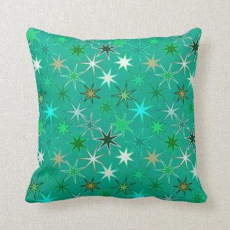 Modern Starburst Print, Turquoise and Aqua Cushion