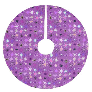 Modern Starburst Print, Violet Purple and Orchid Brushed Polyester Tree Skirt