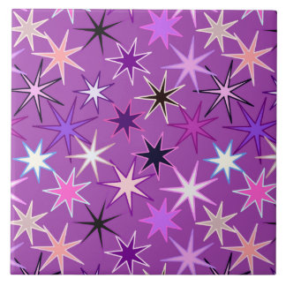 Modern Starburst Print, Violet Purple and Orchid Ceramic Tile