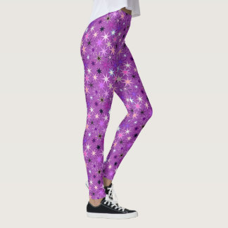Modern Starburst Print, Violet Purple and Orchid Leggings