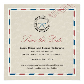 Modern Starfish Antique Airmail Save the Date Card