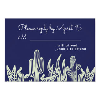 Modern Starry Sky and Cactus Navy Wedding RSVP Card