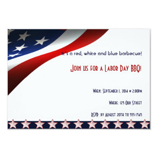 Modern Stars and Stripes Forever Flag Labor Day 9 Cm X 13 Cm Invitation Card