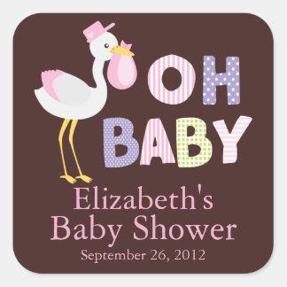 Modern Stork Baby Girl Baby Shower Sticker