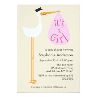 "Modern Stork Baby Shower Invitation - Girl 5"" X 7"" Invitation Card"