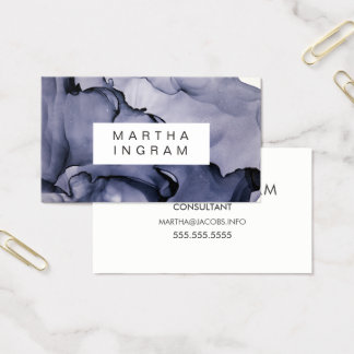 Modern Stormy Blue Ink Layers Abstract Design Business Card