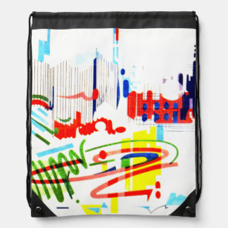 Modern Street Tiles from Lisbon's Funicular Drawstring Bag