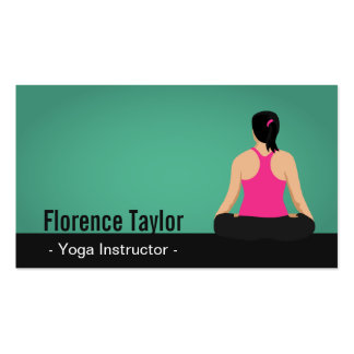 Modern, Striking, Green Yoga Instructor Pack Of Standard Business Cards