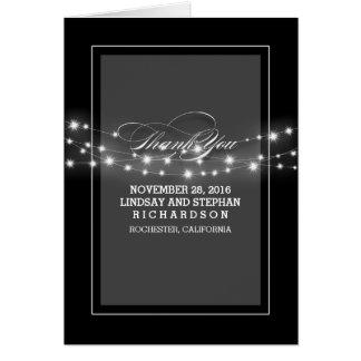 Modern string lights black wedding thank you cards
