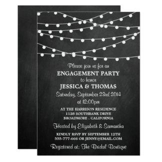 Modern String Lights On Chalkboard Engagement 13 Cm X 18 Cm Invitation Card