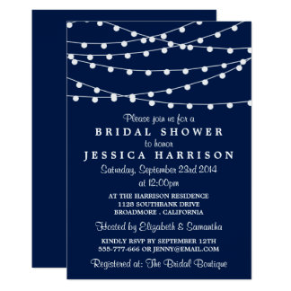 Modern String Lights On Navy Blue Bridal Shower 13 Cm X 18 Cm Invitation Card