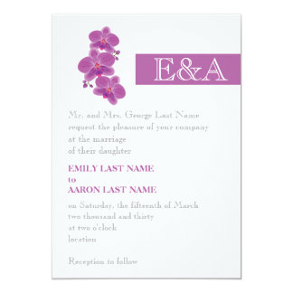 Modern stripe and radiant orchid purple wedding card