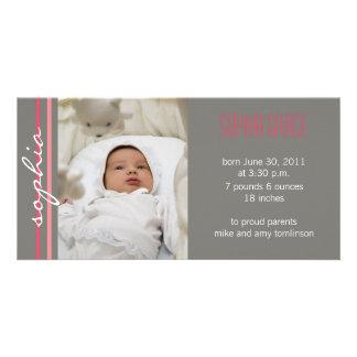Modern Stripe Birth Announcement Photo Card-coral Customized Photo Card