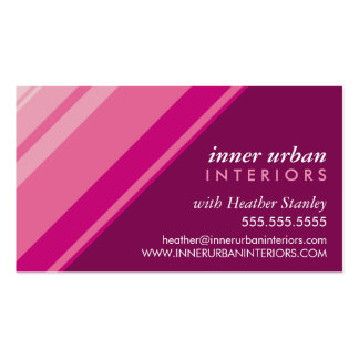 MODERN STRIPE bold fresh monochrome pink plum Pack Of Standard Business Cards