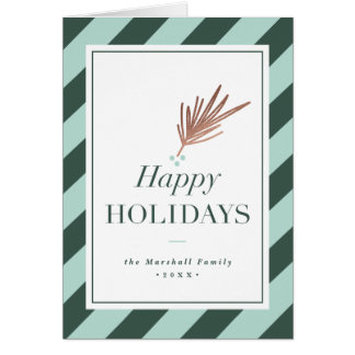 Modern stripe faux foil holiday greeting card