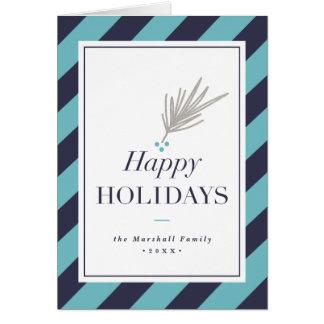 Modern stripe folded holiday greeting card