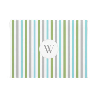 Modern stripe monogram front door mat