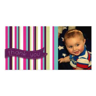 Modern Stripe Thank You Baby Birthday Photocard Customized Photo Card