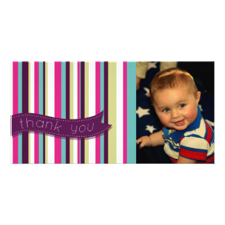 Modern Stripe Thank You Baby Birthday Photocard Personalised Photo Card