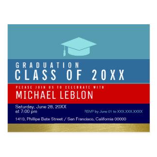 modern, striped & cool graduation . grad party postcard