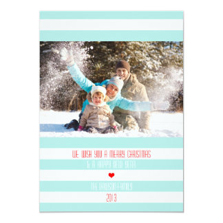Modern Striped Holiday Photo Card 13 Cm X 18 Cm Invitation Card