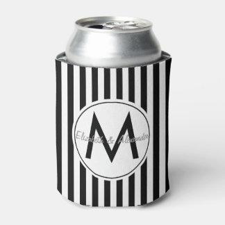 Modern Striped Monogram Custom Can Cooler