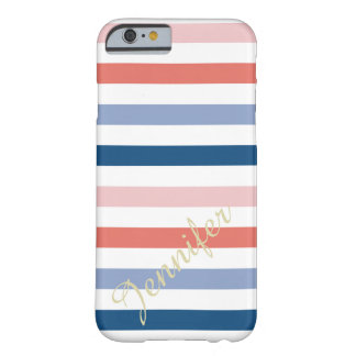 Modern Striped Pattern Custom Name Barely There iPhone 6 Case