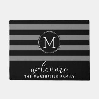 Modern Striped Pattern Family Welcome Black Grey Doormat