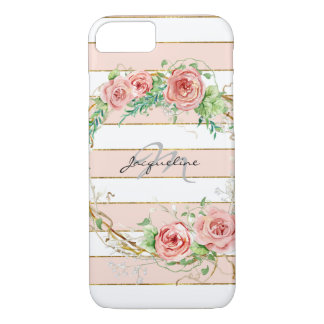 Modern Striped Rose Wreath BOHO Chic Floral Case