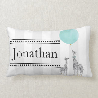 Modern Stripes and Giraffes Nursery Pillow
