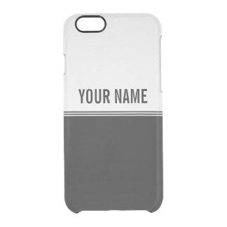 Modern Stripes Black and White Custom Name Clear iPhone 6/6S Case