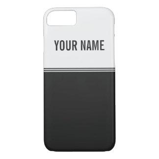 Modern Stripes Black and White Custom Name iPhone 7 Case
