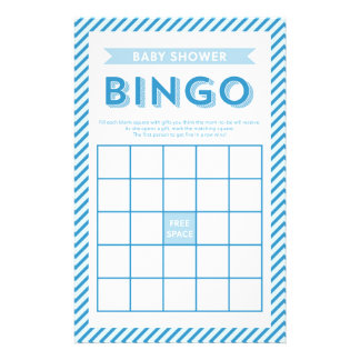 Modern Stripes Blue Baby Shower Bingo Game Stationery