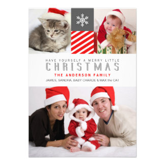 Modern Stripes Christmas Holiday Photo Flat Cards