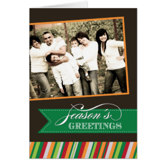 Modern Stripes Christmas Photo Greeting Card