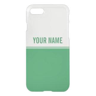 Modern Stripes Emerald Green Custom Name iPhone 7 Case