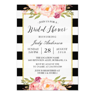 Modern Stripes Floral Decor Wedding Bridal Shower 13 Cm X 18 Cm Invitation Card