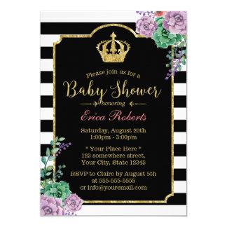 Modern Stripes Gold Crown Floral Baby Shower 13 Cm X 18 Cm Invitation Card