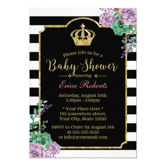 Modern Stripes Gold Crown Floral Baby Shower Card