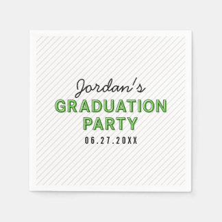 Modern Stripes Green Graduation Party Disposable Napkins