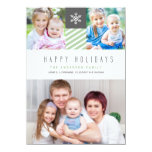 Modern Stripes Happy Holidays Photo Flat Cards Personalized Announcement