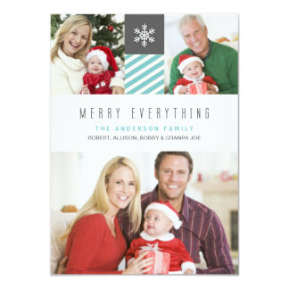 """Modern Stripes Merry Everything Holiday Photo Card 4.5"""" X 6.25"""" Invitation Card"""