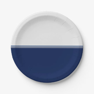 Modern Stripes Navy Blue Custom 7 Inch Paper Plate