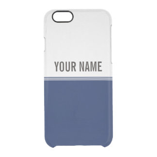 Modern Stripes Navy Blue Custom Name Clear iPhone 6/6S Case
