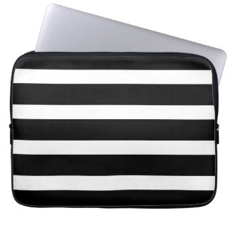 Modern Stripes Pattern Black and White Trendy Laptop Sleeve
